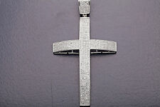 "Designer $10,000 5ct VS G Diamond 14k White Gold 3.5"" Cross Pendant BIG BIG"