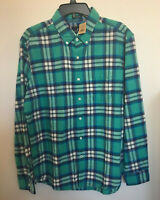 NWT AMERICAN EAGLE Men's L Oxford Long Sleeved Plaid Shirt - Seriously Soft Teal