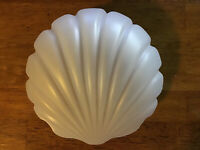 """Vintage Frosted Glass Shell Ceiling Fixture Glass Shade 5-3/4"""" Fitter - Art Deco"""