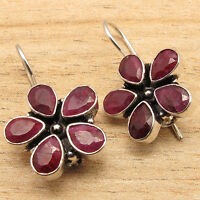 INDIAN Simulated RUBY Gems FLOWER Wedding Jewelry Earrings 925 Silver Plated