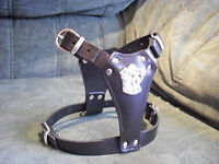 BLACK PUPPY LEATHER DOG HARNESS(STAFFY)