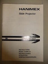 Instructions slide projector HANIMEX IR model  CD/EMail