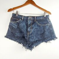 O2 Denim Shorts Women's Dark Acid Wash Black Jean Cut Off Size Medium EUC