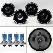 "FOUR 5.75"" 5 3/4 Round H4 Black Projector Glass Headlights w/ Bulbs Set Chevy"