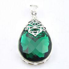 Xmas Gift Huge Teardrop Green Quartz Gems Silver Necklaces Pendants Women