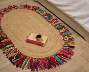 Rug 100% Natural Jute and cotton handmade oval Rug modern living area carpet rug