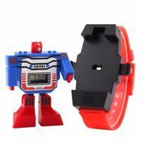 Teens Kids Boys Detachable Dial Transformers Robot Cartoon Digital Sports Watch