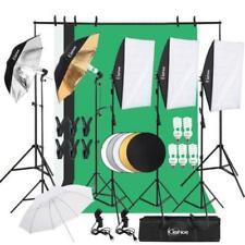 Photo Studio Lighting Photography 3Backdrop Softbox Stand Light Kit Umbrella Set