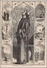 1879 : ILLUSTRATION / GRAVURE : RELIGION SAINT BONAVENTURE par Yan' DARGENT