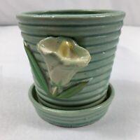 "VTG Miniature Pottery Planter Aqua With Applied White Calla Lily Japan 3 1/4"""