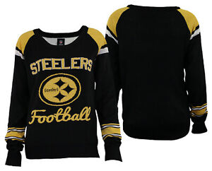 Forever Collectibles NFL Women's Pittsburgh Steelers Glitter Scoop Neck Sweater