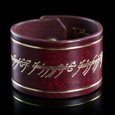 Lotr Weta Leather Cuff The One Ring Inscription (Deep Red) Bilbo Frodo Sauron