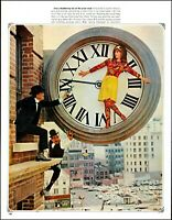1965 Woman inside giant clock ledge Sportwhirl fashions vintage print Ad  adL52