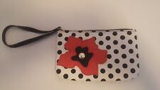 Wilson Leather Pelle Studio White Black Poka Dots Pink Floral Leather Wristlet