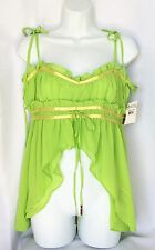 Akademiks JUNIORS Light Lime Green Tie Straps Flowy Tank Top NEW Size Large