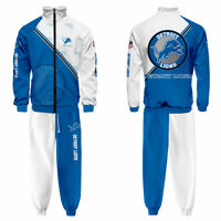 Detroit Lions Activewear Zipper Men/'s Clothing Hoodie Fans Tracksuit 2PCS Gift