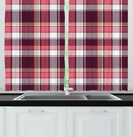 "Checkered Kitchen Curtains 2 Panel Set Window Drapes 55"" X 39"" by Ambesonne"