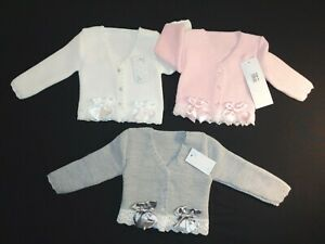 SPANISH STYLE BABY GIRLS KNITTED CARDIGAN SHRUG PINK,WHITE BOW LACE 3MTHS-36MTHS