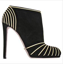 SERGIO ROSSI Black suede ultra high heel ankle boots gold graphic trim zip SZ 41
