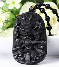 Natural Obsidian Carved Chinese Dragon Lucky Amulet Pendant + Beads Necklace