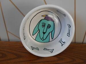 JESTER beautiful stoneware small dog bowl URSULA DODGE Signature Housewares PUP