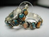 STERLING SILVER NEW ORANGE RED SPINY OYSTER COPPER TURQUOISE HOOP 1 IN EARRINGS