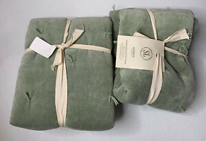 Southern Living Aubrey [Set Of 2] Green Standard Quilted Pillow Sham NWT