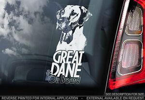 Great Dane - Car Window Sticker - German Mastiff Dog on Board Sign Gift - TYP2