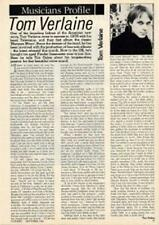Tom Verlaine Television 'Guitarist' Interview Clipping