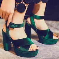 Velvet Women's Peep Toe Ankle Strap Platform High Block Heels Slingbacks sandals
