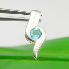 4mm Round Blue Topaz Gemstone Solitaire Pendant Genuine 925 Sterling Silver P124