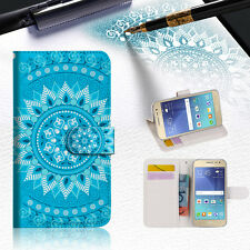 Blue Aztec Tribal Wallet Case Cover for Samsung Galaxy J5 Prime- A001