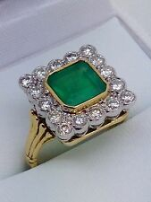18ct Yellow &white Gold Brilliant Diamond And Emerald . Hall Marked 18ct Ring .