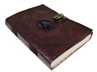 Large Leather Journal Celtic book of shadows blue stone blank refillable pers...