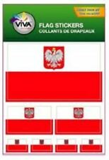 POLAND POLSKA COUNTRY FLAG COLLECTION OF 7 DIFFERENT SIZE DECAL STICKERS .. NEW