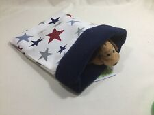 "Snuggle sack bag Pouch cream stars navy Fleece 7""x 9"" reversible hamster rat"