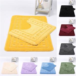 2PC Diem Bath and Pedestal Mat Set Soft Super Absorbent Non Slip Luxury