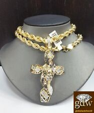 Real 10k Yellow Gold Men's Jesus Cross Charm/Pendant with 28 Inches Rope Chain.
