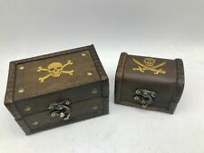 Jolly Roger Pirate Rustic Wooden Box Style Skull & Crossbones Treasure Chest