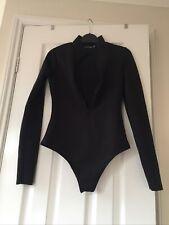 Pretty Little Thing Black Scuba Bodysuit Size 6 Zip Up -Excellent Condition