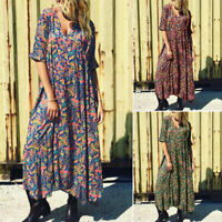 ZANZEA Women's Low Cut Summer Beach Long Maxi Dress Floral Print T-Shirt Dress