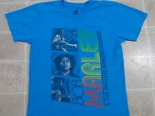 BOB MARLEY & Wailers T-SHIRT Mens SMALL Blue Face Guitar ZION Rootswear Colorful