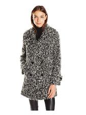 NWT Diane von Furstenberg Women's Chelsea Wool Coat With Alpaca Fur, 12