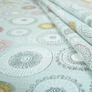 10 Metres Of Design Modern Round Medallion Colourful Chenille Upholstery Fabric