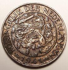 1941 KONINGRIJK DER NEDERLANDEN 1 Cent Netherlands coin #168