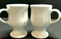 Pfaltzgraff FILIGREE Pedestal Footed Mug Coffee Cup White Set Of 2