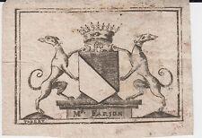 EX-LIBRIS HÉRALDIQUE XVIIIe FARJON, MAGISTRAT - MONTPELLIER (Hérault)