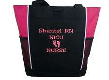 TOTE BAG Personalized Zippered Nurse RN ER NICU Baby Nursing Baby Feet Pink