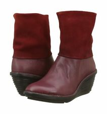 FLY LONDON SINA671FLY RED LEATHER ZIP UP ANKLE BOOTS UK 8 EUR 41 BNIB RRP £115