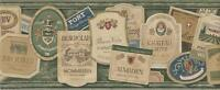 Wallpaper Border Designer Vintage Wine Labels on Green